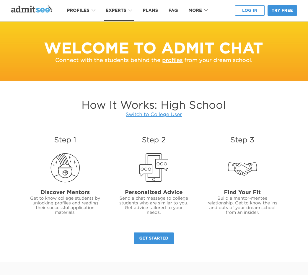 Admitsee's Admit Chat landing page.