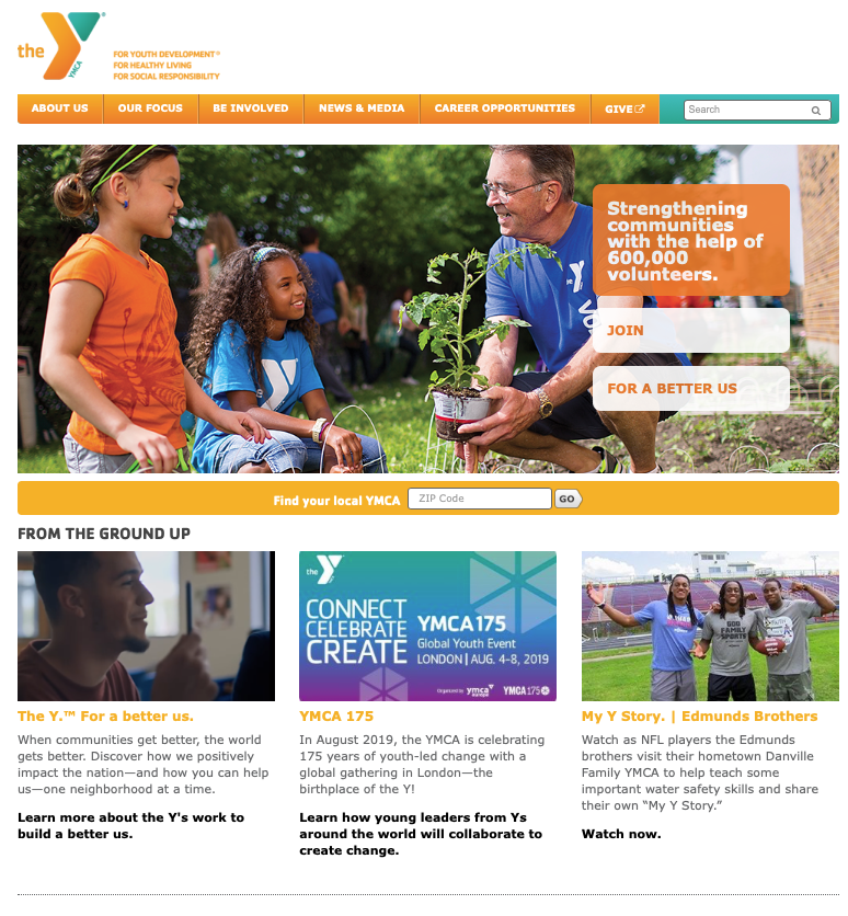 YMCA of The USA's headquarters website, ready to serve.